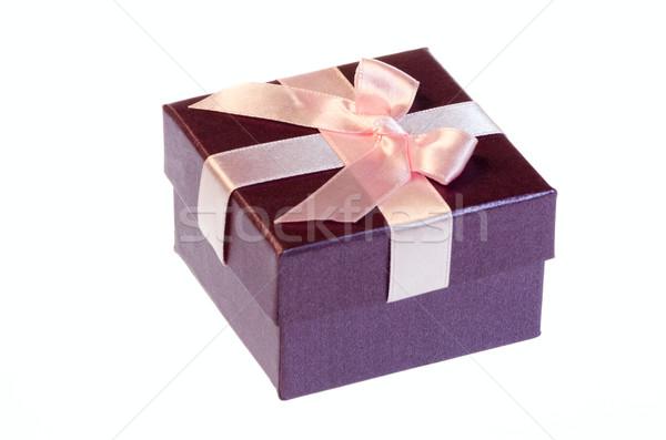Ajándék doboz rózsaszín szalag íj izolált fehér háttér Stock fotó © maisicon