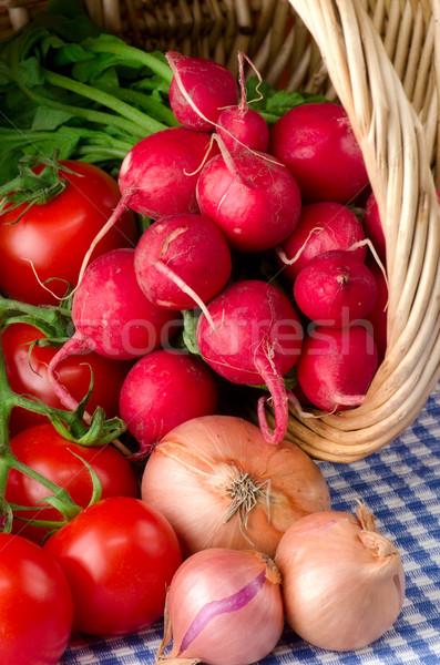 свежие овощи корзины лист фрукты здоровья фон Сток-фото © maisicon