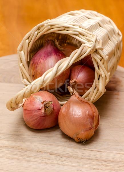 корзины лук свежие овощи продовольствие древесины кадр Сток-фото © maisicon
