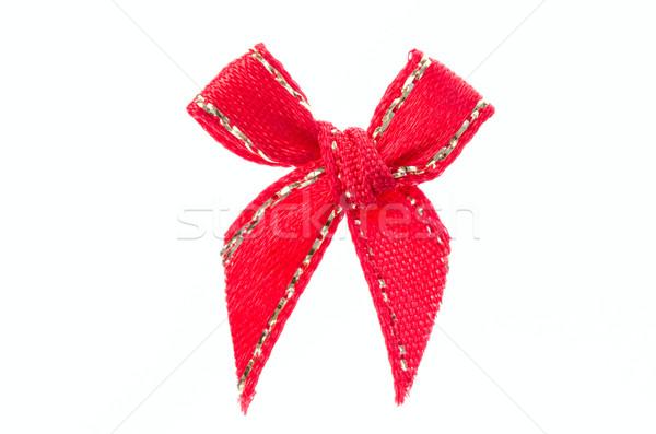 Vörös szalag íj izolált fehér kereszt születésnap Stock fotó © maisicon