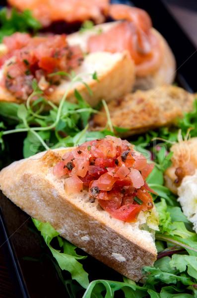сэндвич овощей рыбы свадьба таблице хлеб Сток-фото © maisicon