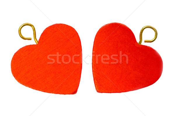 красный сердцах два изолированный белый сердце Сток-фото © maisicon