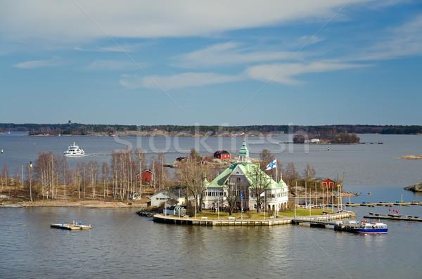 Ilha mar báltico Helsinque Finlândia casa madeira Foto stock © maisicon