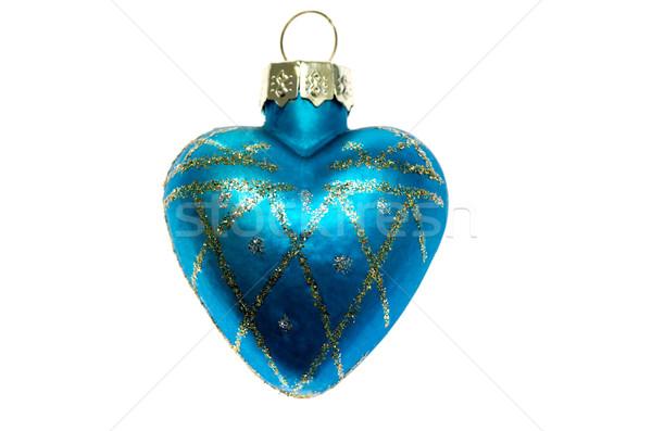 Noel oyuncak mavi kalp yalıtılmış beyaz Stok fotoğraf © maisicon
