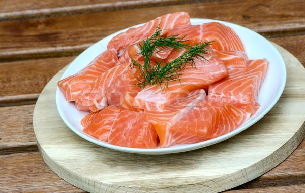 свежие лосося белый пластина рыбы обеда Сток-фото © maisicon