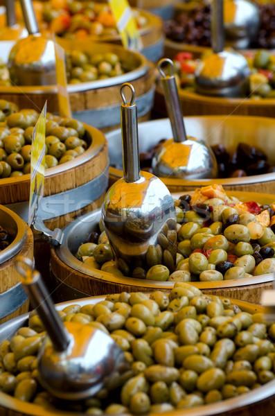 Zeytin pazar İspanya gıda arka plan yağ Stok fotoğraf © maisicon