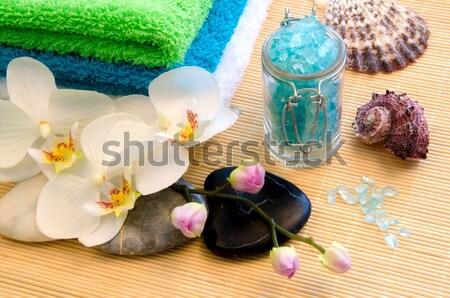 набор Spa полотенце соль каменные цветы Сток-фото © maisicon