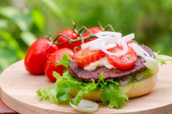 барбекю сэндвич приготовленный летний лагерь фон хлеб Сток-фото © maisicon