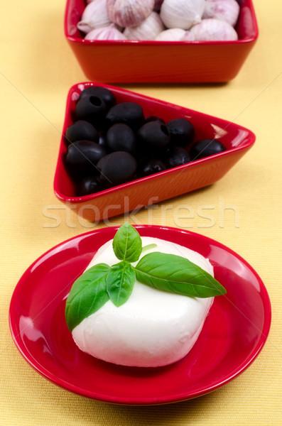 итальянский моцарелла сыра базилик пластина продовольствие Сток-фото © maisicon