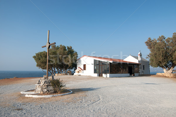 Kilise Yunanistan akdeniz deniz su şehir Stok fotoğraf © maisicon