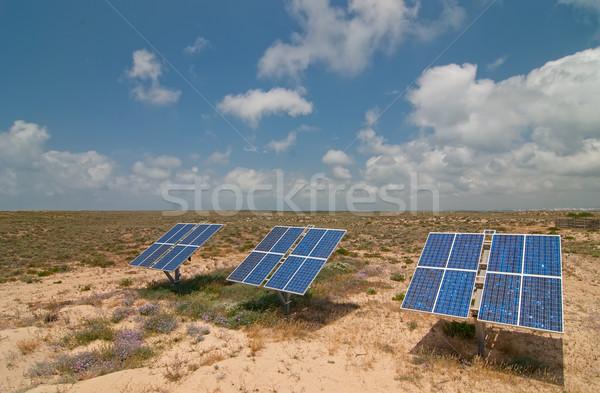 Güneş pil güneş panelleri ada Portekiz para Stok fotoğraf © maisicon