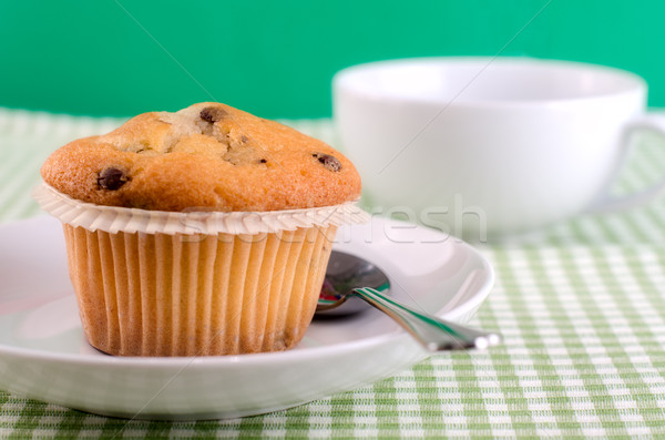 Friss muffin asztal étel torta ital Stock fotó © maisicon