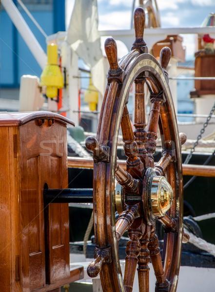 Direksiyon yelkencilik su ahşap deniz uygunluk Stok fotoğraf © maisicon