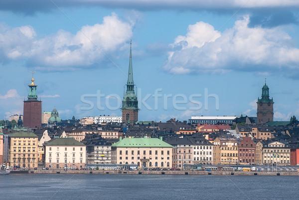 мнение старый город Стокгольм Швеция небе карта Сток-фото © maisicon