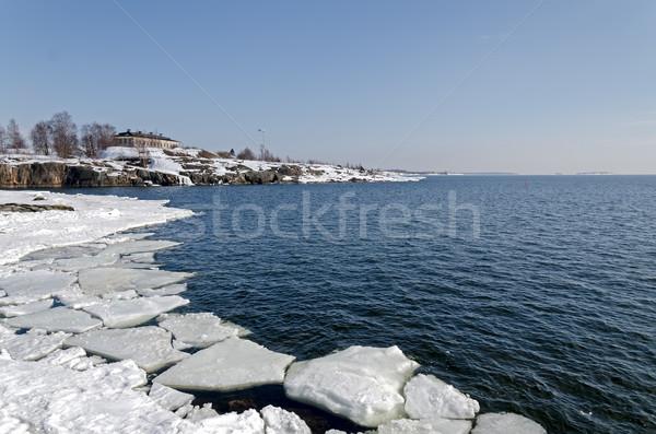 побережье Балтийское море Финляндия весны снега красоту Сток-фото © maisicon