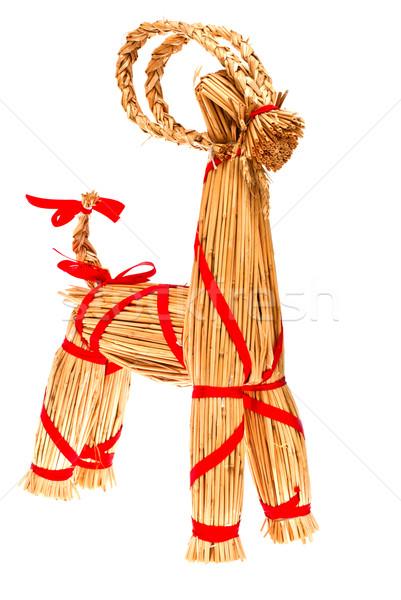 Рождества соломы игрушку традиционный дерево счастливым Сток-фото © maisicon