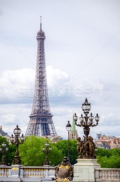 Eyfel Kulesi Paris Fransa Bina manzara arka plan Stok fotoğraf © maisicon