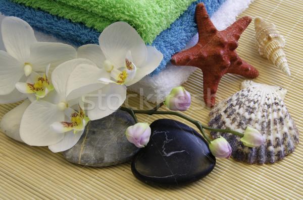 Spa zen камней орхидеи воды текстуры Сток-фото © maisicon