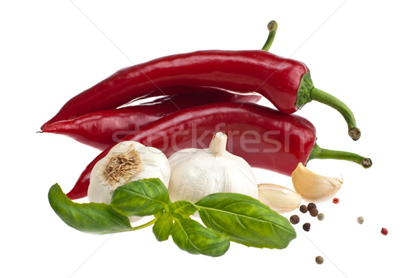 Pepper, garlic, basil. Stock photo © maisicon
