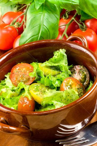 Salata taze sebze gıda mutfak yeşil yağ Stok fotoğraf © maisicon