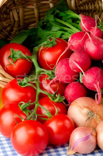 Taze sebze sepet yaprak meyve sağlık arka plan Stok fotoğraf © maisicon