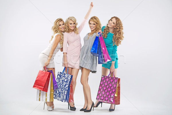 Group of fabulous grils on shopping Stock photo © majdansky