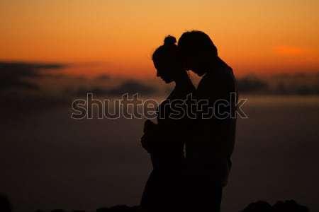 Photo stock: Silhouettes · calme · femme · chambre · triste