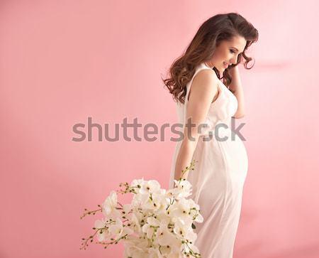 Portret elegante dame bloem meisje Stockfoto © majdansky