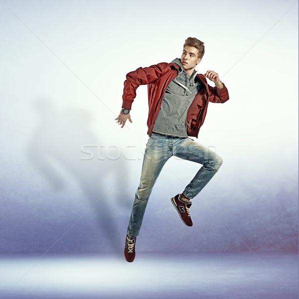 Stok fotoğraf: Portre · genç · atlama · hava · genç · adam