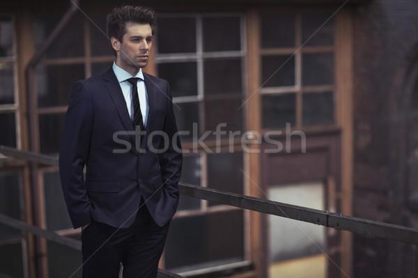 Portret slank knap zakenman knappe man man Stockfoto © majdansky