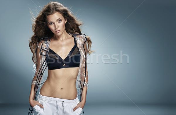 Portre güzel uygun esmer moda Stok fotoğraf © majdansky
