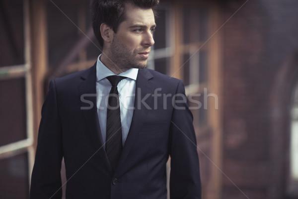 Yakışıklı adam takım elbise yakışıklı adam adam işadamı Stok fotoğraf © majdansky