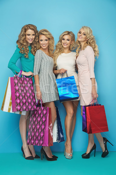 Four fabulous women with shopping bags Stock photo © majdansky