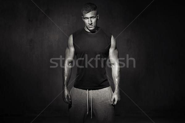 肖像 筋肉の 選手 小さな 男 幸せ ストックフォト © majdansky