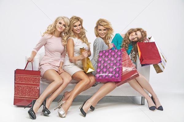 Wesoły posiedzenia sofa uśmiech sexy moda Zdjęcia stock © majdansky