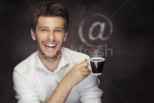 Resim adam kahve imzalamak işadamı ağ Stok fotoğraf © majdansky