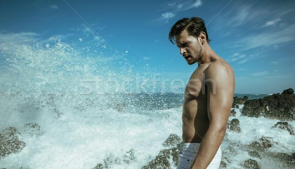 Photo stock: élégant · musculaire · homme · posant · Guy