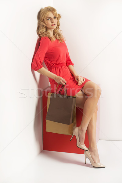 Fatigué blond dame femme sourire Photo stock © majdansky