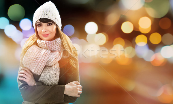 Closeup portrait of an elegant, cheerful brunette lady - glimmer Stock photo © majdansky