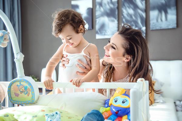 Encantado mamãe criança filha mulher Foto stock © majdansky