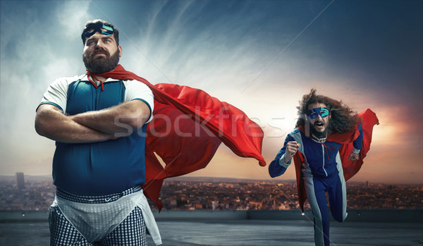 Funny portrait of two super heroes Stock photo © majdansky