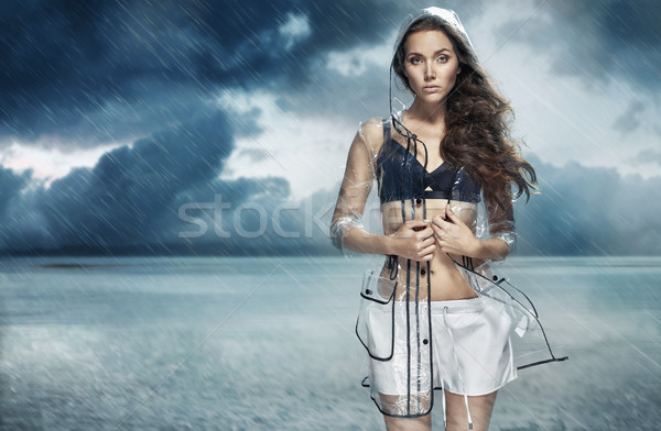 Portrait of fashionable girl wearing waterproof coat Stock photo © majdansky