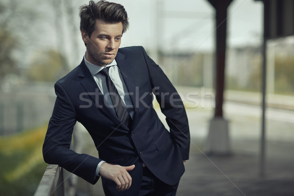 Resting businessman in the city area Stock photo © majdansky