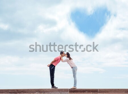 Couple baiser nuage symbole amour Photo stock © majdansky