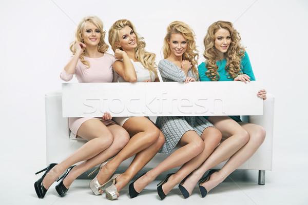 Vier fantastisch meisjes dun boord dames Stockfoto © majdansky