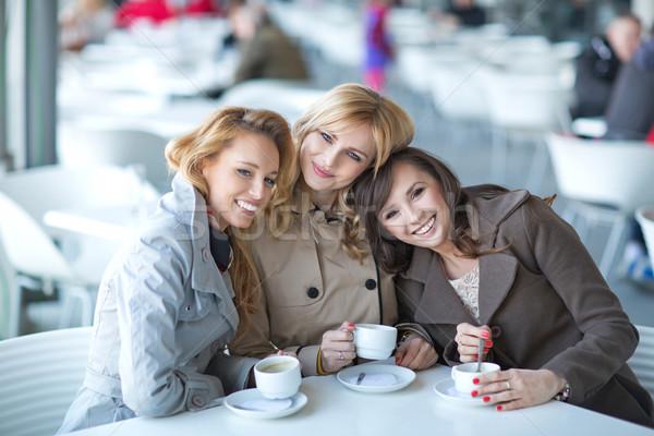 楽しい 会議 コーヒーショップ 小 春 笑顔 ストックフォト © majdansky