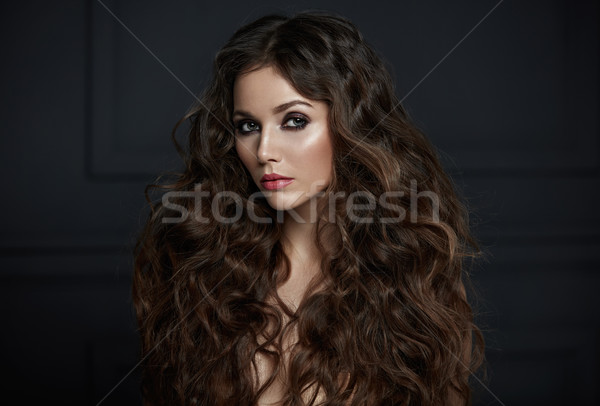 Portrait adorable dame pelucheux femme visage Photo stock © majdansky