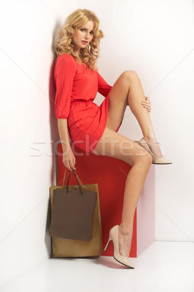Femme dame sourire mode corps Photo stock © majdansky