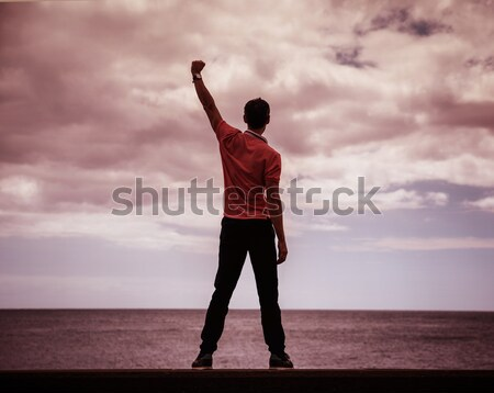 Calm, victorious man looking at the ocean Stock photo © majdansky