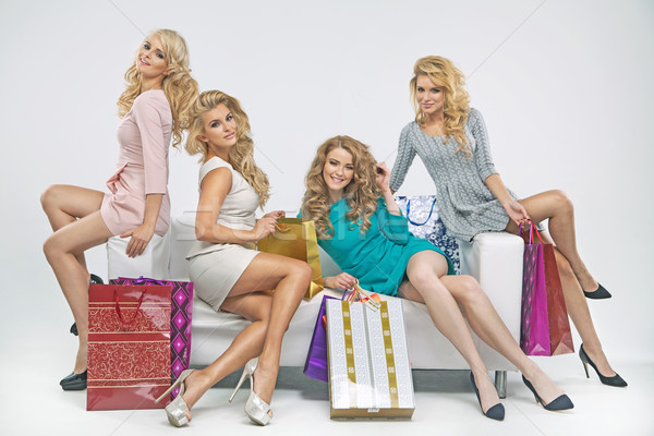 Alluring ladies with plenty of shopping bags Stock photo © majdansky